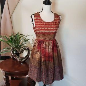 Band of Gypsies red, orange, & brown summer dress